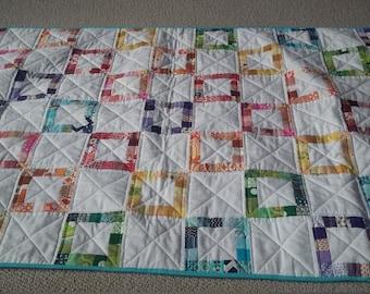 Modern Handmade Quilted Crib Blanket, Stroller Blanket/ Baby Boy or Girl/ Modern Throw