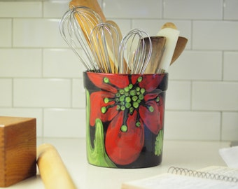 Utensil Canister, Utensil Crock, Kitchen Utensil Holder, Ceramic Utensil  Canister XL Utensil Holder