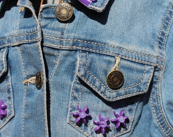 4T denim jacket with purple embellishment #c106