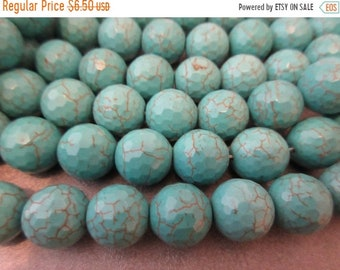 ON SALE 20% OFF Magnesite Turquoise Faceted Round 14mm Beads 29pcs