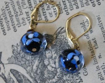 Blue flower lampwork earrings