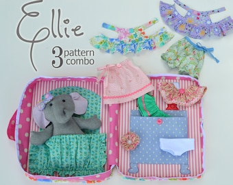SALE  3 Pattern Combo -  Ellie Baby Elephant PDF Doll Pattern, Wardrobe and Travel Case
