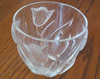 Crystal Tulip Vase Lead Crystal Vase / Bowl Made in France Glass Vase