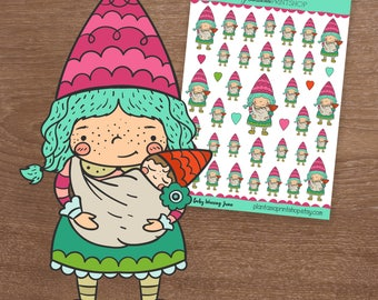 Baby Wearing Juno, Juno the Gnome, Gnome Stickers,Mom Stickers, Baby Wearing, Happy Planner, Plum Paper Planner, Motherhood, TN, Foxy Fix