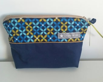 Small toiletry bag or makeup geometric blue and ochre and Blue Navy - mother's day gift idea