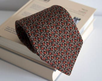 Vintage silk necktie, wide geometric mens necktie, geometric silk neck tie, cravat cravatte / classic beige brown orange