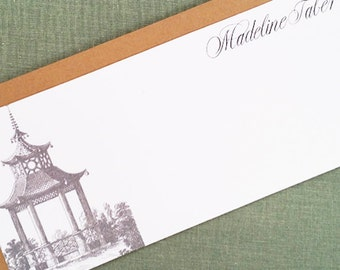 Elegant Chinoiserie Pagoda Flat Notes, Personalized, set of 12
