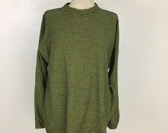 Vintage 90's grunge oversized mock neck tunic top striped shirt