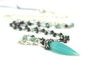 Teal Chalcedony Necklace Rainbow Pyrite Swarovski Crystal Oxidized Sterling Silver Fang Tooth Point Long Layering Healing Aqua Blue Green