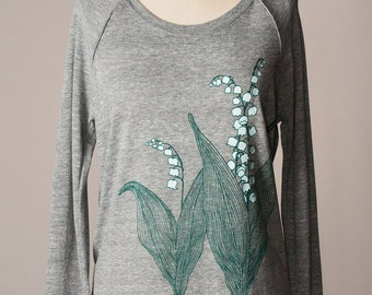 women's pullover sweatshirt, long sleeves shirt, long sleeved shirt, lily of the valley shirt, lily-of-the-valley shirt