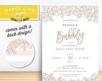 Blush Pink + Rose Gold Bridal Shower Brunch & Bubbly Invitation - DIY Printable Invitation OR Custom Printed Invitations