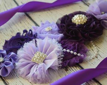 Shades of purple Sash sash ,flower Belt, maternity sash, wedding sash, flower girl sash, maternity sash belt