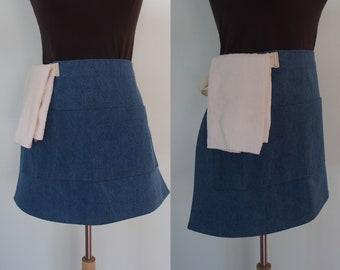 Denim Waist Apron with Pockets and Towel Loop, Medium Wash Denim, 11 oz Cotton Denim, Restaurant Server Apron, Heavyweight Half Apron