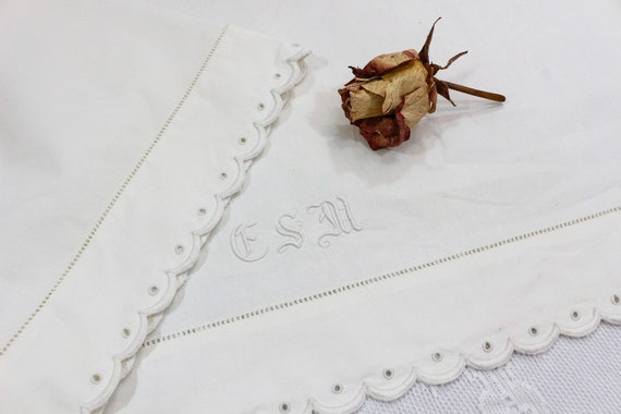 Ivory Cotton Top Sheet, Full Double Bedding, Embroidered Scalloped Edges, Monogram ESM, Drawn Work, 1910s Antique Estate Bed Linens