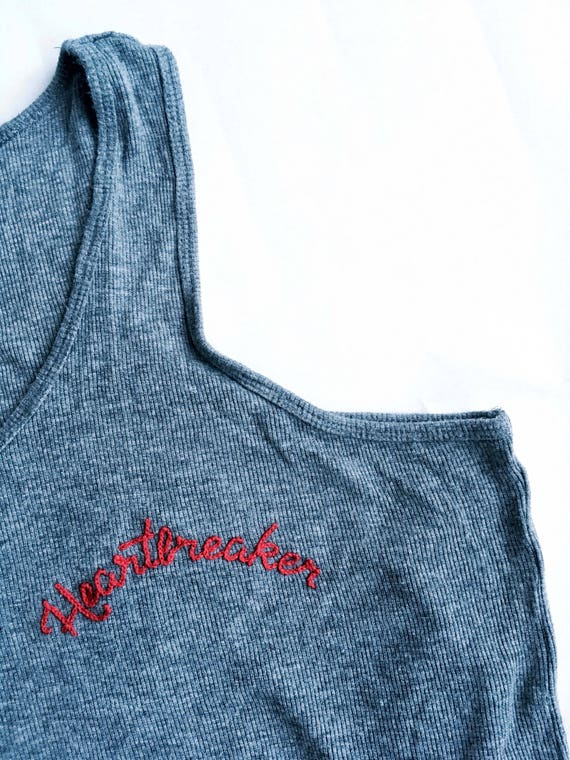 Hand Embroidered Top   Tank Top   Made to Order   Heartbreaker   Vintage   Upcycle   Sustainable   One of a Kind   Festival Fashion   90s