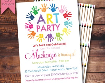 Art Party Invitation, Messy Handprint Invitation, FREE Thank You Card File, Paint Party Invitation, Craft Party Invitation, Digital, Printed