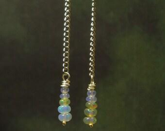 Natural Ethiopian Opal Earrings/ Sterling Silver/ Opal Dangling Earrings