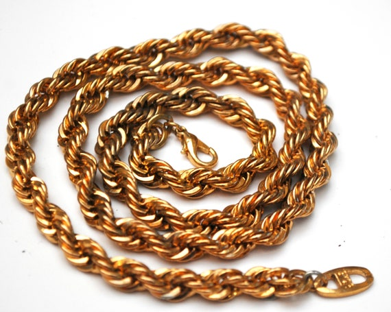 Vintage Chunky Gold  Chain link  18 kt gold plated   Twisted chain necklace  Mid century  24 inches