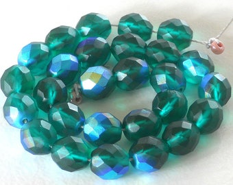 10mm Czech Fire Polished Beads, Faceted Frosted Emerald Green AB, Beach-like Glass Beads, Dark Green Frosted Beads (EBAB-040516) - 25 Pieces