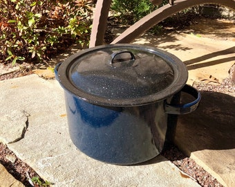 Blue Enamelware Pot with Lid