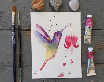 Hummingbird and the Bleeding Heart, Original Watercolor