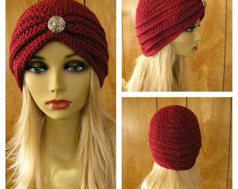 "Crochet cotton turban hat, cranberry cotton yarn with a vintage metal button, wil fit most 23"" around"