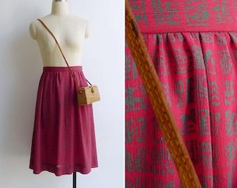 Vintage 80's 'Hieroglyphs' Novelty Print High Waist Red Skirt S