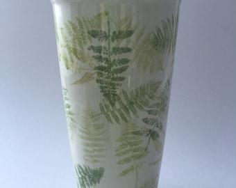 Ceramic travel mug hand decorated with green fern leaves, large fern leaves mug