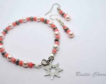 Pink Bamboo Coral and Glass Pearl Star Charm Bracelet and Earring Set