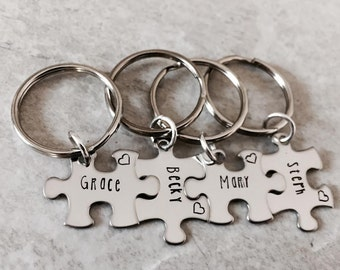 hand stamped personalzied bridal party gifts personalized gifts bridesmaids gifts sister gifts puzzle piece monogrammed keychain set