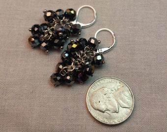 Black Iridescent Cluster Earrings