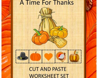 Autumn A Time For Thanks, Cut and Paste, PK, K, Special Education, Autism