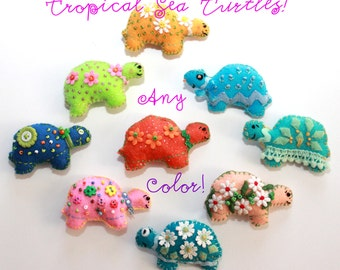 Tropical Sea Turtle Magnets /  In Any Color Combo / Set of three /  OOAK, Party Favor / Novelty /Custom Order