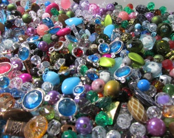 70 Mixed Lot Acrylic Beads and Connectors - Assorted sizes, colors and shapes - Bead soup- Jewelry Making-Destash-Grab Bag