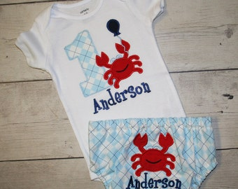 Boys or Girls Crab Birthday Applique Shirt and diaper cover, Free Personalization-- All birthday numbers are available