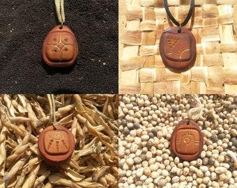 Lamat - Kawak - Ix - Cib / Mayan signs - Tzlokin - kin / Avocado stone necklace , avocado pit pendant , seed carving / handcraft jewelry