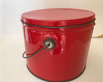Vintage Red Storage Canister Tin-with Swinging Handle