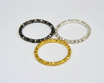 diamond cut stacking ring, stackable ring, silver stack rings, unique stacking rings, stack rings, black stacking ring, gold stackable rings