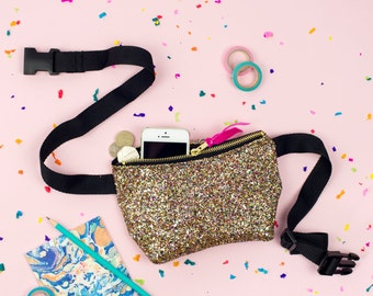 Golden Confetti Glitter Party Bum Bag (Fanny Pack)
