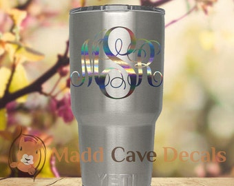 Yeti Rainbow Chrome Monogram Decal Oil Slick Tumbler Rambler Colster