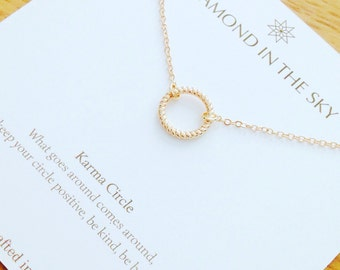 Gold Karma Circle Necklace on Gift Card