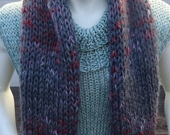 HANDKNIT CHUNKY CHARCOAL Gray Scarf.  Acrylic/Wool Blend Mohair scarf. Great Gift.