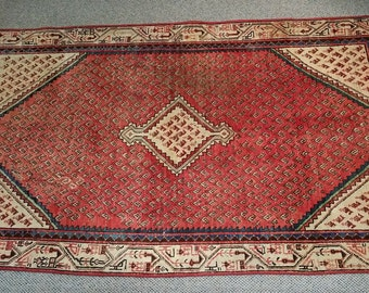 "Vintage Persian Rug 1940's ARAK MIR 3' 10"" x 6' 5"" Handmade, Hand-knotted, Natural Dyes, Bohemian, Boho Chic, Made in Iran 338m"
