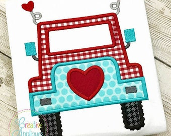 Valentine Jeep Applique, Jeep with Hearts Applique, Boy Valentine's Tee, Boy Valentine's Day Shirt, Jeep with Hearts Tee