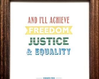 Freedom, Justice, Equality mini letterpress print