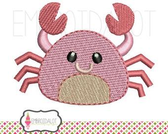 Crab machine embroidery design. Cute filled stitch crab embroidery. Fun beach embroidery design for summer.