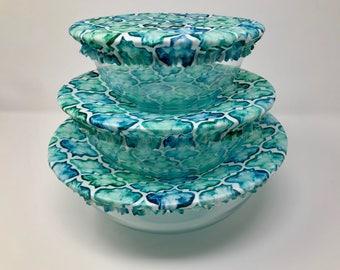 Reusable Bowl Covers, Teal Mosaic