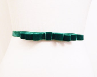 Emerald Velvet Bow Belt