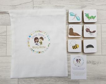 Once Upon a Story Stone/Minibeasts/Storytelling Stones/ Story Stones/ Handmade / Montessori tool / Preschool/ Primary school