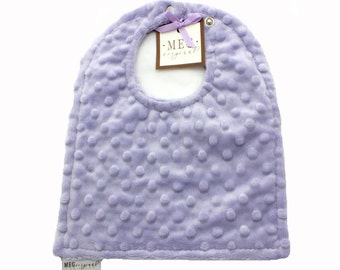 Lavender Minky Dot Baby Girl Bib, Adjustable Snap Bib